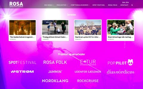 Screenshot of Home Page rosa.org - ROSA - Dansk Rock Samråd | - captured Sept. 4, 2015