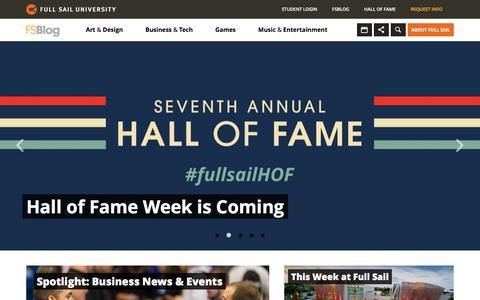 Screenshot of Home Page Blog fullsailblog.com - Full Sail University Blog - captured Jan. 23, 2016