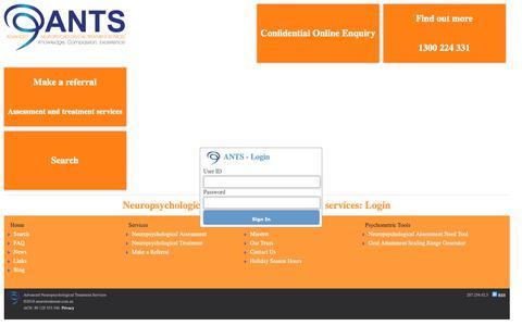 Screenshot of Login Page neurotreatment.com.au - Login: Advanced Neuropsychological Treatment Services (ANTS) - captured Oct. 22, 2018
