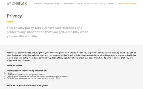 Screenshot of Privacy Page archiblox.com.au - Privacy - captured Oct. 4, 2018