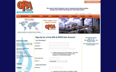 Screenshot of Signup Page gpaglobal.org - Sign-Up! - captured Oct. 2, 2014