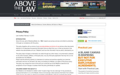 Screenshot of Privacy Page abovethelaw.com - Privacy Policy «  Above the Law: A Legal Web Site – News, Commentary, and Opinions on Law Firms, Lawyers, Law Schools, Law Suits, Judges and Courts + Career Resources - captured Sept. 18, 2014