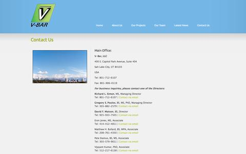 Screenshot of Contact Page v-bar.net - V-Bar provides meteorological and wind resource support to the global wind and solar energy industries. - captured Oct. 9, 2014