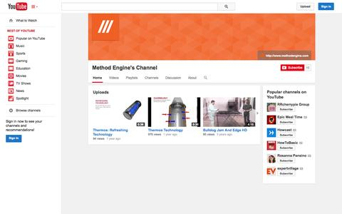 Screenshot of YouTube Page youtube.com - Method Engine's Channel  - YouTube - captured Oct. 27, 2014