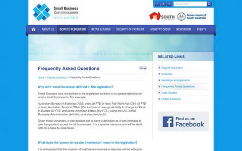 Screenshot of FAQ Page sasbc.sa.gov.au - Small Business Commissioner - captured Jan. 25, 2018