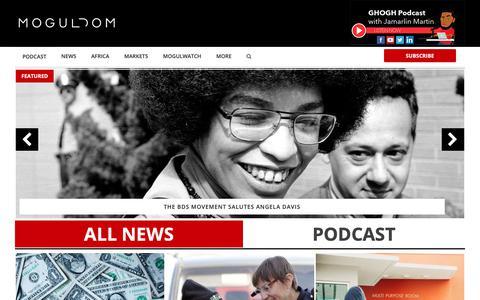 Screenshot of Home Page moguldom.com - Moguldom - Digital Media, Tech, Politics, Crypto, Inequality - captured Feb. 11, 2019
