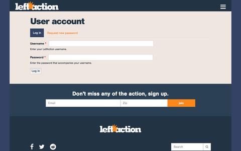 Screenshot of Login Page leftaction.com - User account | LeftAction - captured May 16, 2017