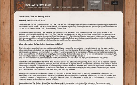 Screenshot of Privacy Page dollarshaveclub.com - Privacy Policy - captured April 5, 2016