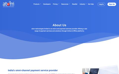 Screenshot of About Page atomtech.in - atom technologies ltd | biggest payment gateway company - captured Nov. 8, 2018