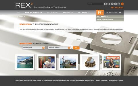 Screenshot of Case Studies Page rex3.com - Integrated Marketing Case Studies | Proven Techniques | Rex Three - captured Oct. 30, 2014