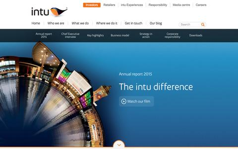 Screenshot of intugroup.co.uk - intu annual report 2015 - captured March 20, 2016