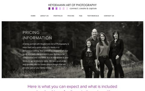 Screenshot of Pricing Page heydemannphoto.com - Pricing Information | Heydemann Art of Photography - captured Aug. 9, 2017