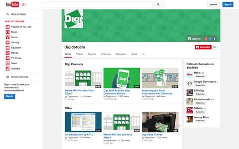 Screenshot of YouTube Page youtube.com - Digidotcom  - YouTube - captured Oct. 23, 2014