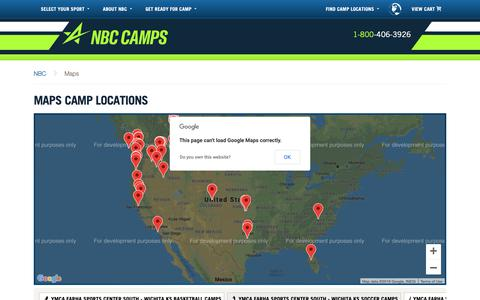 Screenshot of Maps & Directions Page nbccamps.com - Maps Camp Locations - NBC Camps - captured Nov. 19, 2018