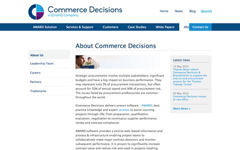 Screenshot of About Page qinetiq.com - About Commerce Decisions   Commerce Decisions - captured Oct. 10, 2014
