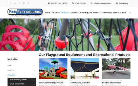 Screenshot of Products Page proplaygrounds.com - Playground Equipment and Recreational Products | Pro Playgrounds | The Play & Recreation Experts - captured July 16, 2016