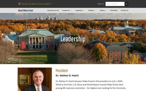 Leadership   About Wake Forest   Wake Forest University