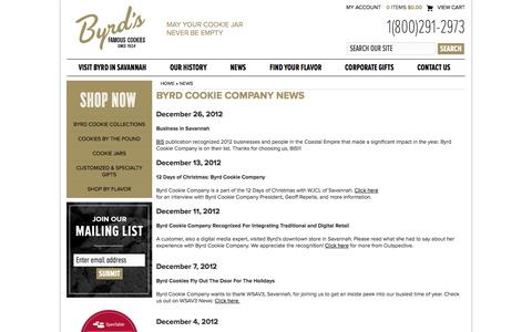 Screenshot of Press Page byrdcookiecompany.com - Gourmet Cookies, Key Lime Coolers, Cookie Gifts, Cheese Biscuits, & Cookie Gift Baskets   Byrd Cookie - captured Sept. 30, 2014