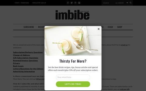 Screenshot of FAQ Page Support Page imbibemagazine.com - Customer Service - Imbibe Magazine - captured May 10, 2017