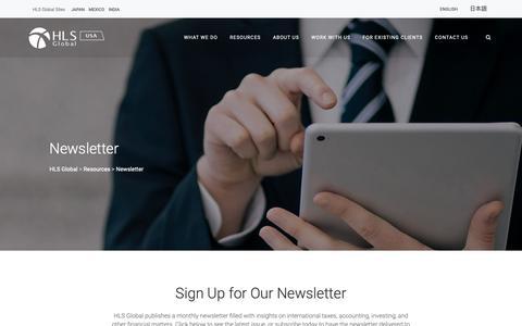 Screenshot of Signup Page hls-global.com - Newsletter - HLS-Global - captured Sept. 29, 2018