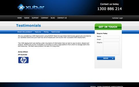 Screenshot of Testimonials Page xubarsoft.com - Testimonials - captured Oct. 7, 2014