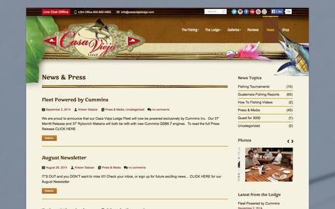Screenshot of Press Page casaviejalodge.com - Casa Vieja Lodge & Sportfishing Fleet   News & Press - captured Sept. 30, 2014
