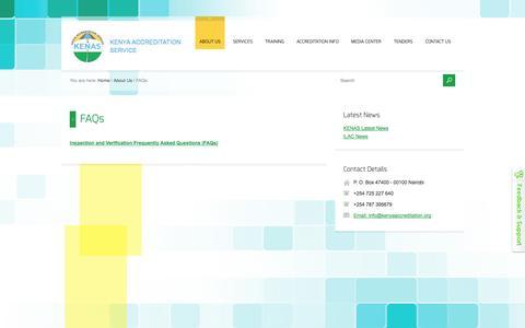 Screenshot of FAQ Page kenas.go.ke - FAQs - captured Oct. 6, 2014