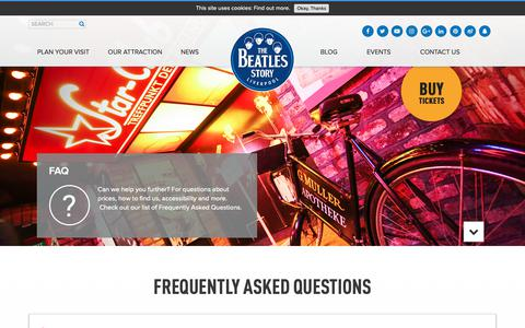 Screenshot of FAQ Page beatlesstory.com - FAQs | The Beatles Story, Liverpool - captured Oct. 20, 2018