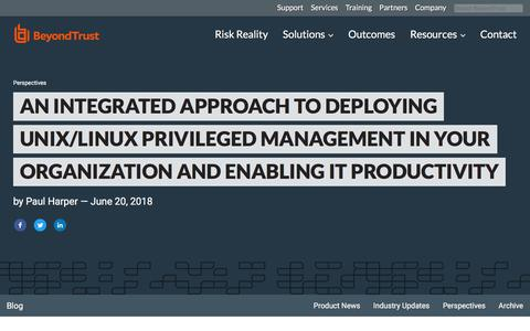 Screenshot of Team Page beyondtrust.com - An Integrated Approach to Deploying Unix/Linux Privileged Management in Your Org | BeyondTrust - captured Jan. 3, 2020