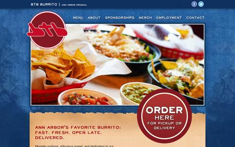 Screenshot of Home Page btbburrito.com captured March 2, 2016