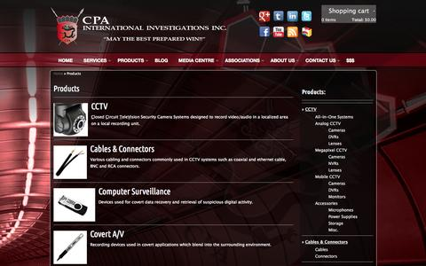 Screenshot of Products Page cpaiii.com - Products | International Private Investigators - captured Oct. 1, 2014