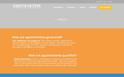 Screenshot of FAQ Page contractorappointments.com - FAQ's - Contractor Appointments - captured May 7, 2017