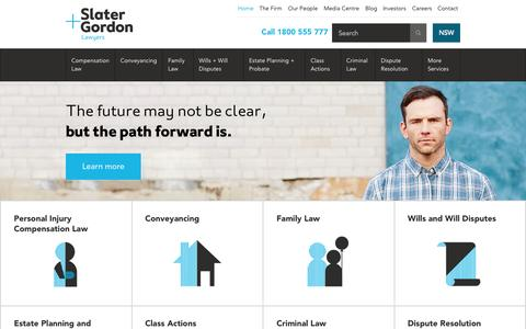 Screenshot of Home Page slatergordon.com.au - Slater and Gordon | Compensation Lawyers, Personal Injury - captured Oct. 22, 2015