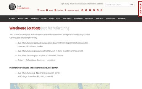 Screenshot of Locations Page justmfg.com - Nationwide Warehouse Locations   Just Mfg - captured Oct. 16, 2017