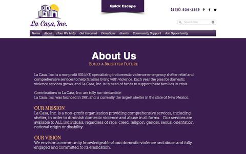 Screenshot of About Page lacasainc.org - About | La Casa Inc. - captured Sept. 26, 2018