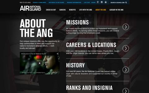 Screenshot of About Page goang.com - About the ANG | Air National Guard - captured Feb. 2, 2016