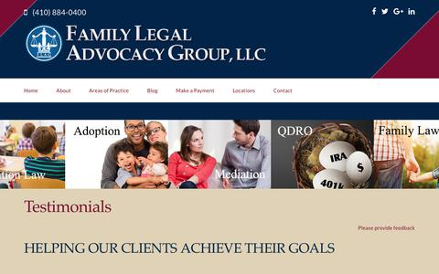 Screenshot of Testimonials Page flagfamilylaw.com - Testimonials - Flag Law - captured Oct. 10, 2018