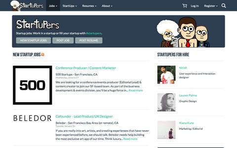 Screenshot of Home Page startupers.com - Startup Jobs - StartUpers - captured Jan. 28, 2016