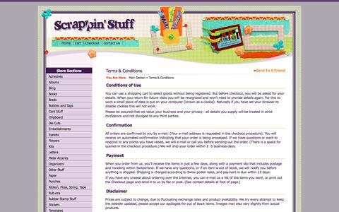 Screenshot of Terms Page scrappinstuff.ch - Terms & Conditions > Main Section > Scrappin Stuff Scrapbooking and Cards - captured June 30, 2018