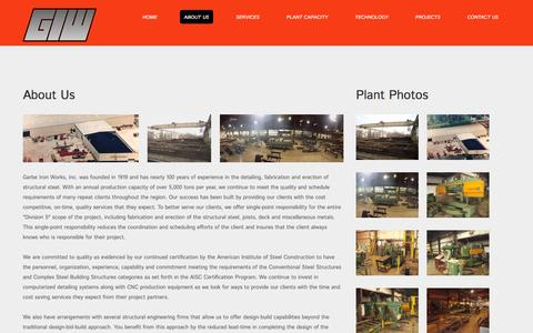 Screenshot of About Page giwinc.com - About Us | Garbe Iron Works - captured Jan. 26, 2016