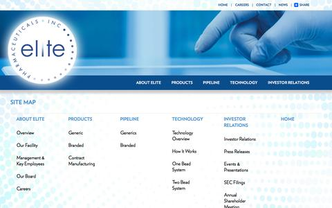 Screenshot of Site Map Page elitepharma.com - Site Map -Elite Pharmaceuticals Inc. - captured Dec. 3, 2015