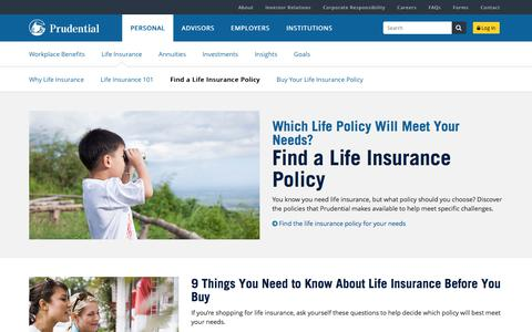 Find a Life Insurance Policy | Prudential Financial