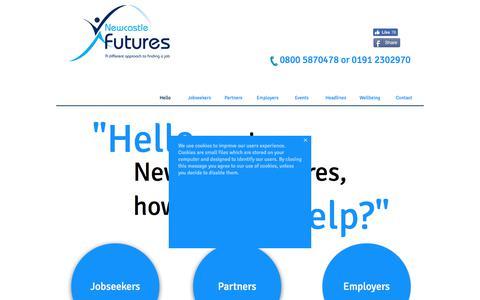 Screenshot of Home Page newcastlefutures.co.uk - Newcastle Futures - Newcastle jobs - Residents of Newcastle get jobs - captured June 13, 2017
