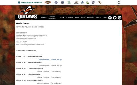Screenshot of Press Page denveroutlaws.com - Media Contact | Denver Outlaws - captured June 4, 2017