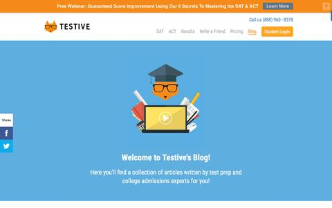 Screenshot of Blog testive.com - College Admissions Blog by ACT & SAT Test Prep Experts | Testive - captured Dec. 2, 2016