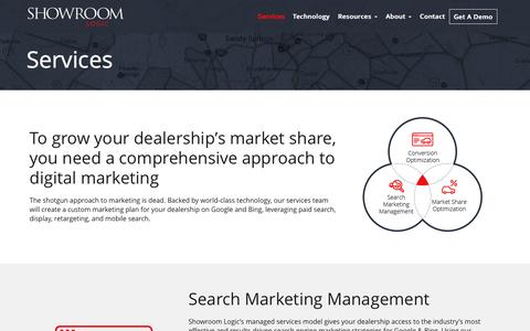 Screenshot of Services Page showroomlogic.com - Search Engine Marketing Services | Automotive Digital Marketing - captured May 15, 2016