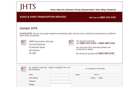 Screenshot of Contact Page jhts.co.uk - Audio Transcription Services - Contact JHTS - captured Oct. 4, 2014