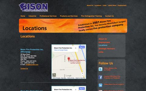 Screenshot of Locations Page bisonfire.com - Contact Bison Fire Protection in Winnipeg 866-441-3473 or Thompson Manitoba 888-788-6848 - captured Oct. 5, 2014