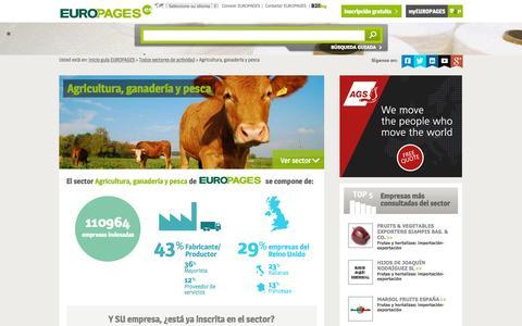 Screenshot of europages.es - Agricultura, ganadería y pesca , todos los proveedores para España y Europa de EUROPAGES - captured Sept. 12, 2015
