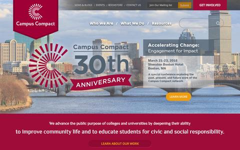 Screenshot of Home Page compact.org - Home - Campus Compact - captured June 18, 2015